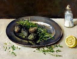 Plover's eggs by a Dutch Master...Lily's favorite Epicurean delight